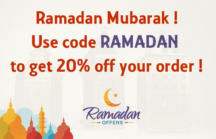 Use code Ramadan to get 20% off your next order